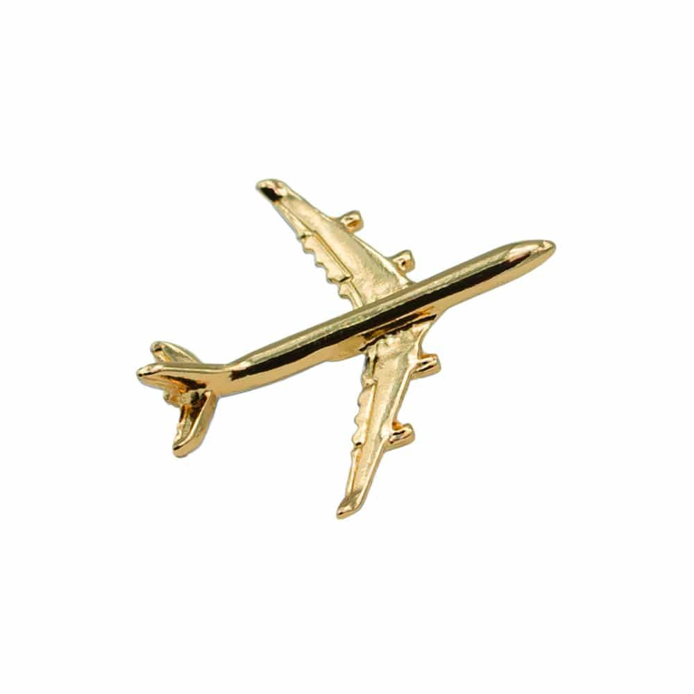 Airbus A340 Flugzeug Pin gold